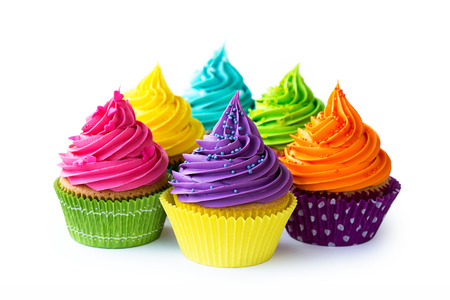 Photo pour Colorful cupcakes against a white background - image libre de droit