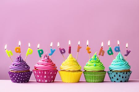 Photo for Happy birthday cupcakes - Royalty Free Image
