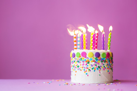 Photo for Birthday cake on a pink background - Royalty Free Image
