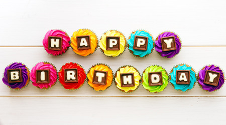 Photo for Cupcakes with a birthday greeting - Royalty Free Image