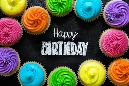 Photo pour Happy Birthday written on chalkboard - image libre de droit