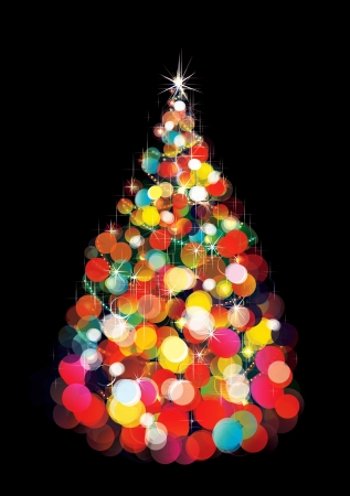Christmas tree lights on black background