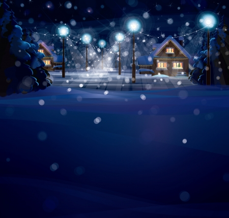 Illustration for winter landscape. Merry Christmas! - Royalty Free Image