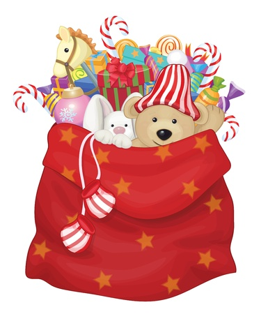 Illustration pour Vector Santa Claus bag with toys and gifts   - image libre de droit