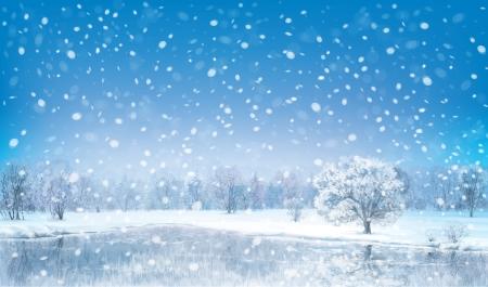 Illustration pour Vector winter landscape  - image libre de droit