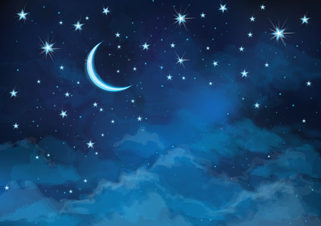 Illustration pour Vector night sky background stars and moon. - image libre de droit
