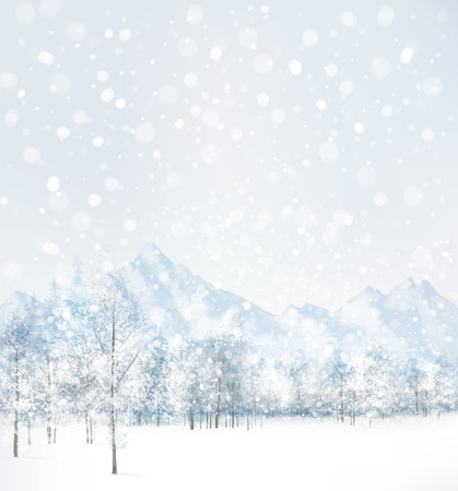 Illustration for Vector of winter scene with forest and mountain background.  - Royalty Free Image