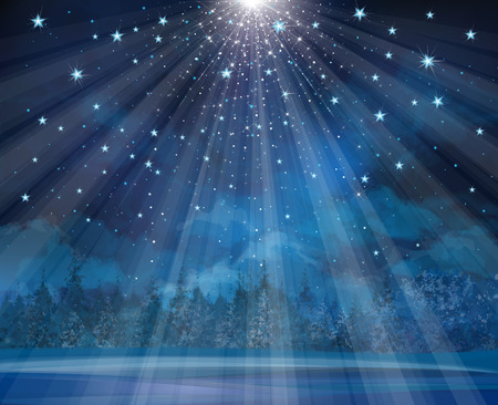 Illustration for Vector winter background with lights and stars. - Royalty Free Image