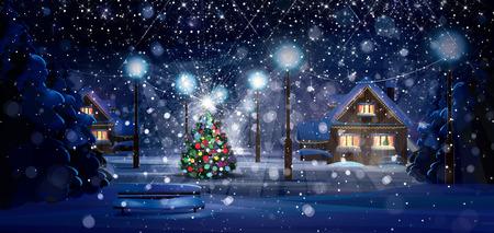 Foto de Cartoon winter night scene - Imagen libre de derechos