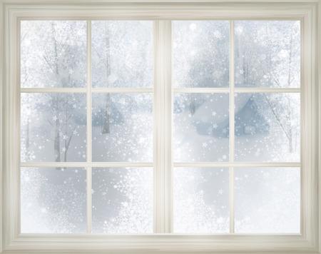 Foto de Window with winter view of snowy background. - Imagen libre de derechos