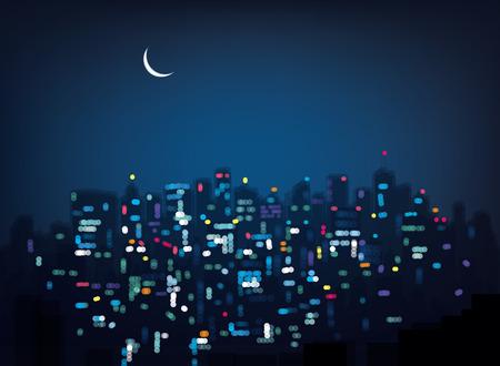 Ilustración de Vector bokeh night city background. - Imagen libre de derechos