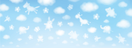 Photo pour Vector sky background, cute animals cartoons. - image libre de droit