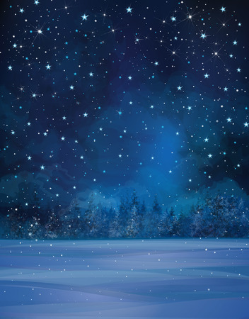 Illustration pour Vector winter night scene, starry sky, snow and forest background. - image libre de droit