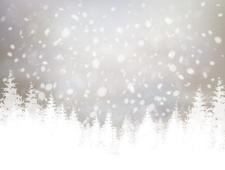 Ilustración de winter scene with snowfall and forest background. - Imagen libre de derechos