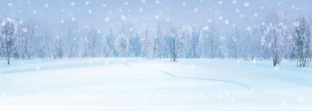 Illustration pour winter landscape with forest background. - image libre de droit