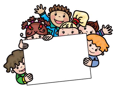 Illustration for happy kids cartoons  frame. - Royalty Free Image