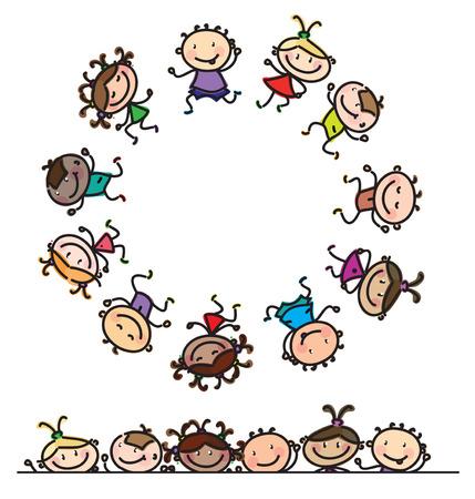 Ilustración de fun, dancing multi-ethnic kids cartoons isolated. - Imagen libre de derechos