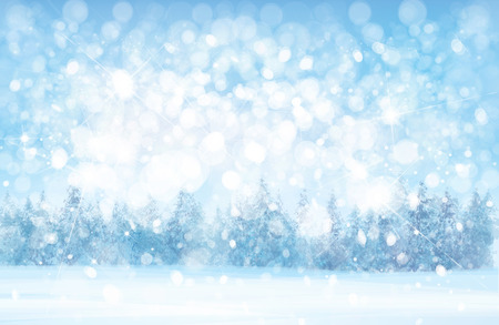 Ilustración de Vector  winter  snowy   forest background, snowfall,  blue, nature background. - Imagen libre de derechos