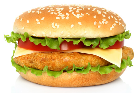 Photo pour Big chicken hamburger on white   - image libre de droit