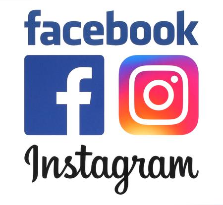 Foto de Kiev, Ukraine - June 08, 2016: New Instagram and Facebook logos printed on white paper. - Imagen libre de derechos