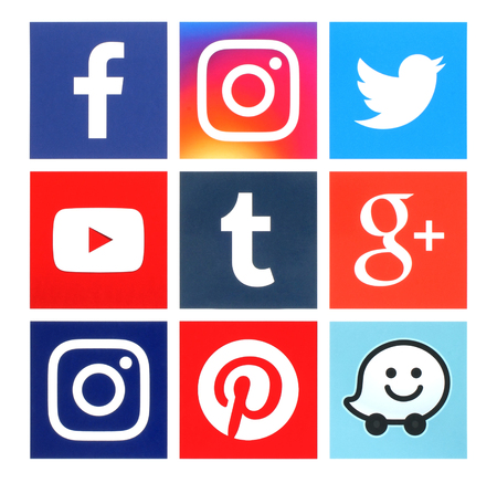 Foto de Kiev, Ukraine - June 22, 2016: Collection of square popular social media logos printed on paper:Facebook, Twitter, Google Plus, Instagram, Youtube, Waze, Pinterest and Tumblr - Imagen libre de derechos