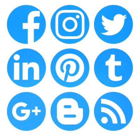 Photo for Kiev, Ukraine - August 22, 2016: Collection of popular circle blue social media logos printed on paper:Facebook, Twitter, Google Plus, Instagram, Pinterest, LinkedIn, Blogger, Tumblr and RSS - Royalty Free Image