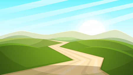 Illustration pour Cartoon landscape illustration. Sun. road, cloud hill Vector eps 10 - image libre de droit