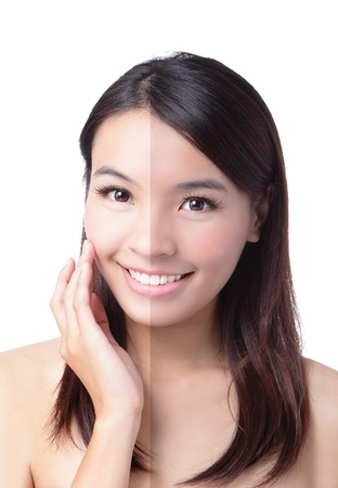 Woman face with half tan skin (before and after) isolated on white background. Beautiful asian woman portrait,