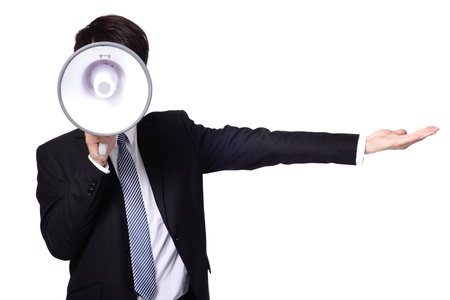 Photo for asian businessman using bullhorn  isolated on white background - Royalty Free Image