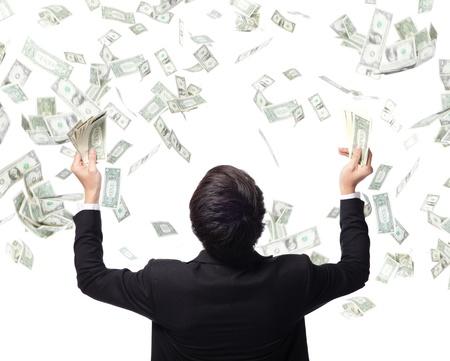 Foto de back view of business man hug money isolated on white background, concept for success business, asian model - Imagen libre de derechos