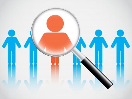 Illustration pour Human resource concept, magnifying glass searching people - image libre de droit