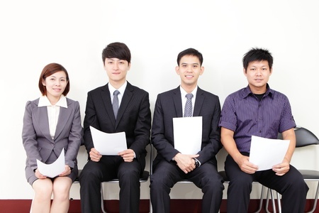 Photo pour people waiting for job interview, asian people - image libre de droit