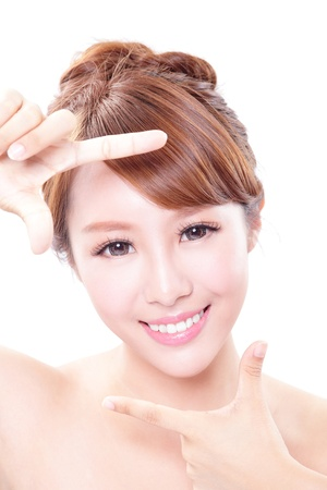 Beautiful Woman face and she making frame with hands with health skin and teeth, concept for skin care and dental care, asian woman