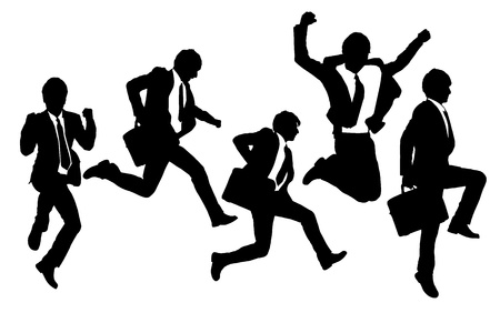 Illustration for Silhouettes of happy jump and running Businessmen with white background - Royalty Free Image