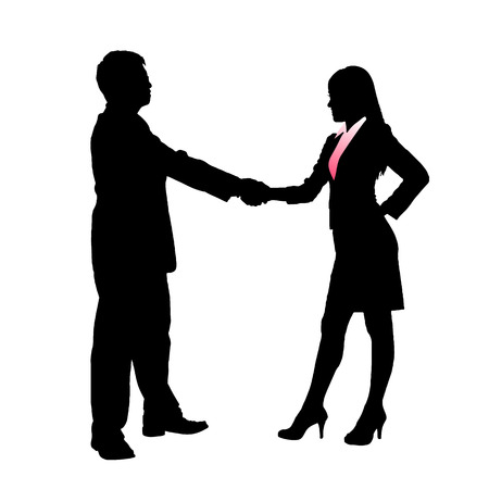 Illustration for Silhouettes of Business team with white background - Royalty Free Image
