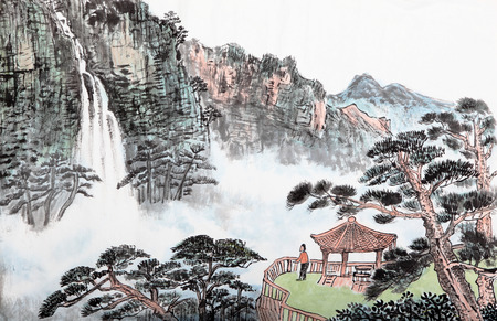 Photo for traditional Chinese painting , mountain and  floating clouds - Royalty Free Image