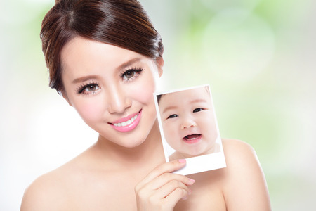 Photo for portrait of the woman with beauty face and perfect skin like a baby, skin care concept,  asian - Royalty Free Image
