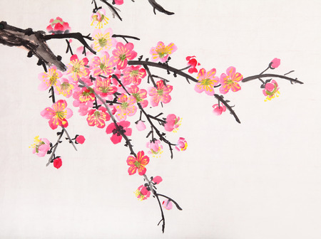 Photo for Traditional Chinese painting of flowers, plum blossom close up white  - Royalty Free Image