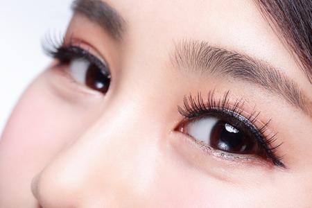 Foto de Beautiful woman eye with long eyelashes. asian model - Imagen libre de derechos