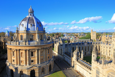 Foto de The Oxford University City, Photoed in the top of tower in St Marys Church. All Souls College, United Kingdom, England - Imagen libre de derechos