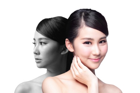 Foto de Skin Care woman after and before - portrait of the woman with beauty face and perfect skin isolated on white background, asian - Imagen libre de derechos