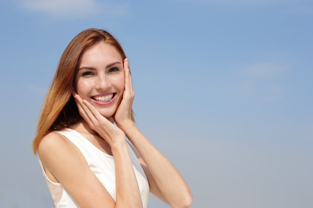 Photo for Charming smile happy woman. She have health teeth and skin, great for dental care and skin care concept. caucasian beauty - Royalty Free Image