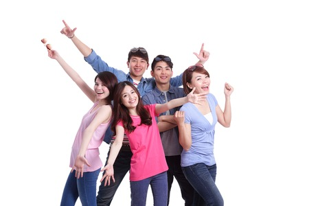 Foto de Happy group young people. Isolated on white background, asian - Imagen libre de derechos