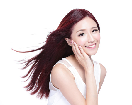 Photo pour Beauty woman with charming smile to you with health skin, teeth and hair isolated on white background, asian beauty - image libre de droit