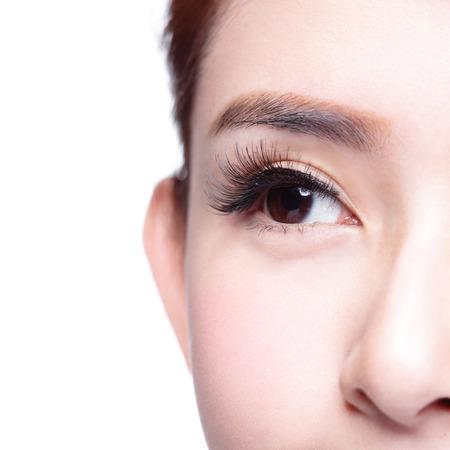 Photo pour Beautiful woman eye with long eyelashes. asian model - image libre de droit