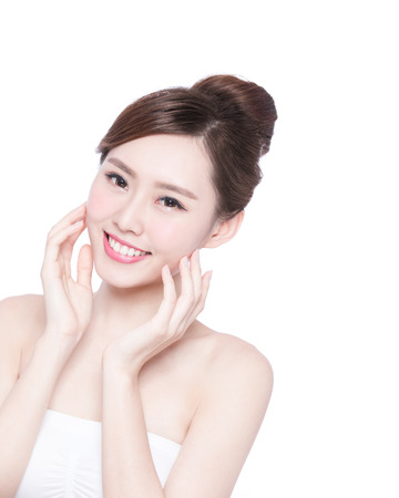 Photo for Beautiful Skin care woman Face smile to you isolated on white background. asian Beauty - Royalty Free Image