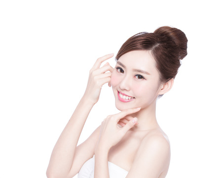 Foto de Beautiful Skin care woman Face smile to you isolated on white background. asian Beauty - Imagen libre de derechos