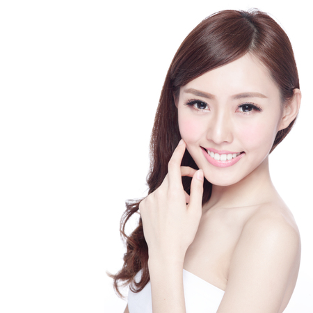 Photo for Beauty woman with charming smile to you with health skin, teeth and hair isolated on white background, asian beauty - Royalty Free Image