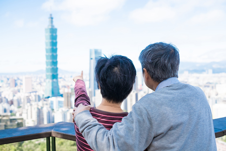 Photo for old couple show something to you in the taipei - Royalty Free Image