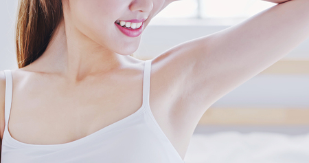 Photo for beauty woman smile with clean underarm at home - Royalty Free Image
